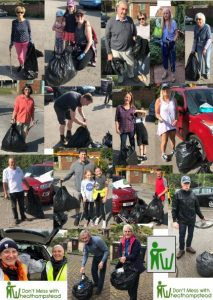 Volunteers picking litter